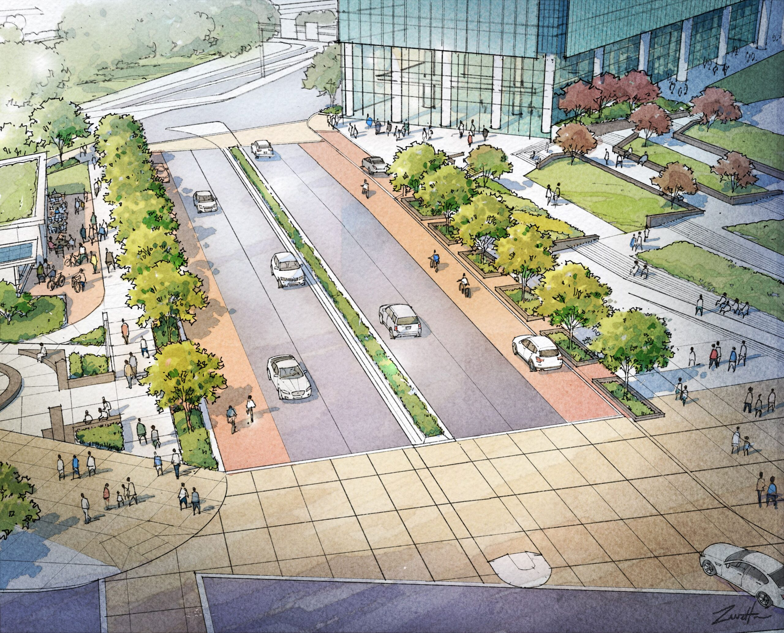 Rendering of the I-579 CAP Park, Lower Hill Open Space and FNB Financial Center. Image courtesy of LaQuatra Bonci Associates